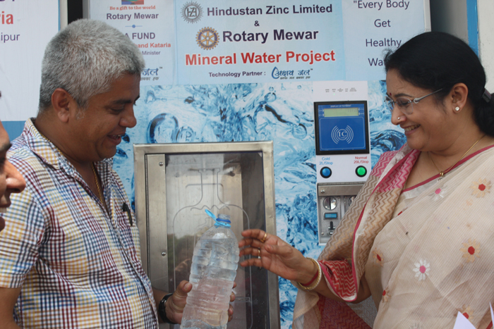 Honble PHED Minister inaugurating ASJ Water ATM
