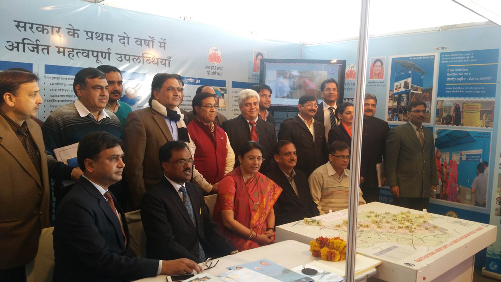Shri Akshay Bhargava, MD- Akshay Swachh Jal with Hon. PHED Minsiter and Govt. officials at PHED Exhibition